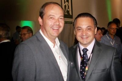 Secretário municipal de Turismo, Lazer e Eventos, Ricardo Xavier da Silveira e o secretário de Turismo do Estado, Roberto de Lucena, na cerimônia de abertura da WTM.